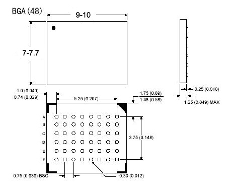 BGA48 ic socket 0.75mm pitch