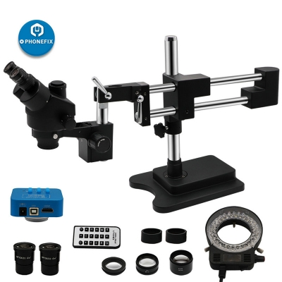 3.5X-90X Black Trinocular Stereo Zoom Microscope with Double Arm Boom Stand