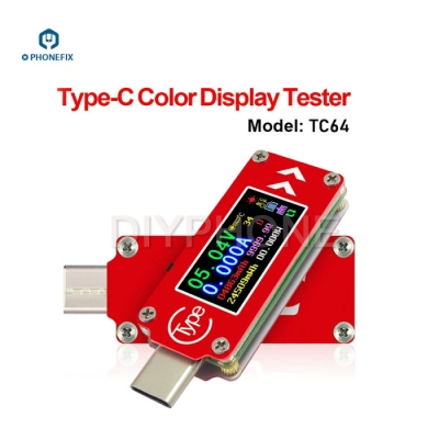 TC64 Type-C Port Mini multimeter Color LCD Display Power USB Tester
