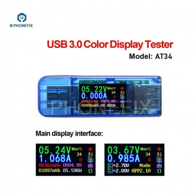 AT34 USB 3.0 Color LCD USB Tester Mini multimeter Phone Repair assistant
