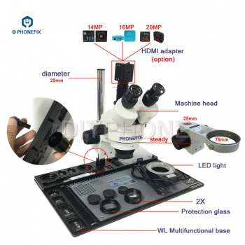 phone repair 3.5X-90X Stereo Zoom Microscope with aluminum alloy pad