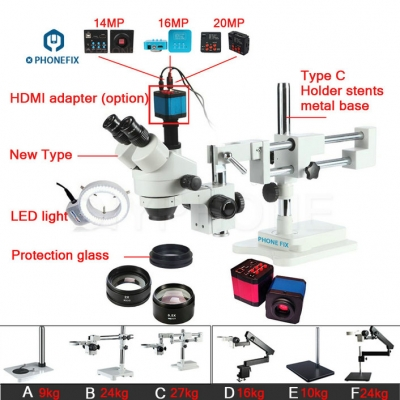 3.5X-90X Stereo Zoom Microscope 14MP HDMI Camera Phone Repair