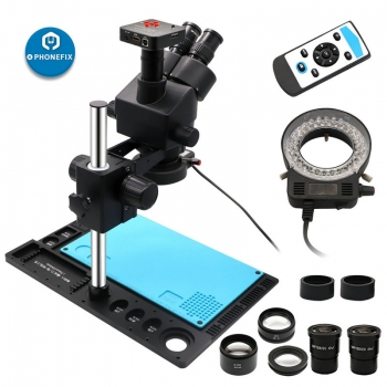 Black Trinocular Stereo Zoom Microscope with Aluminum Alloy Holder Fixed Base
