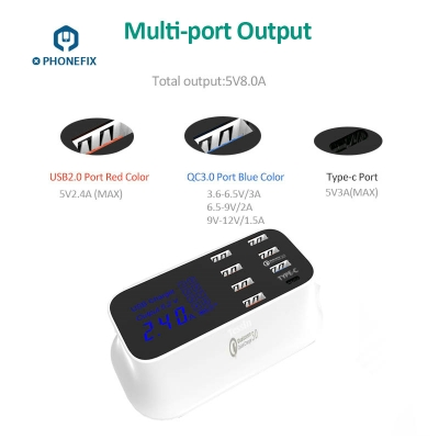 8 Port USB Quick Charger Hub with 3.0 Type-c port for Samsung Huawei