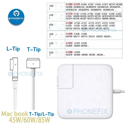 Mac Book Pro Charger 45w 60w 85w Magsafe 2 L-Tip T-Tip Power Adapter