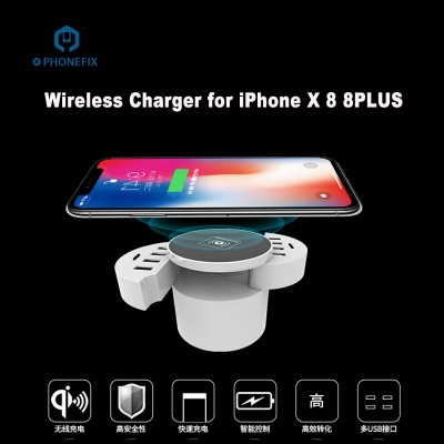 Fast Wireless Charger for iPhone X 8 Plus with 10 Port USB Charging Port