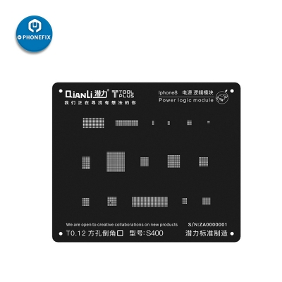 QianLi Black 3D BGA Reballing Stencil for iPhone 6 6S 7 8 X Power Logic Module