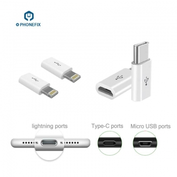 Android Micro USB to Apple Lightning Type-c Adapter Charger Converter