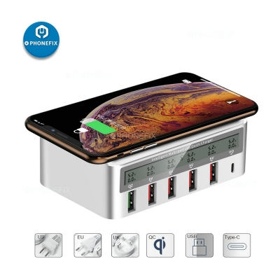 Multiport Quick USB Charger Station LCD Display with Wireless Charging pad
