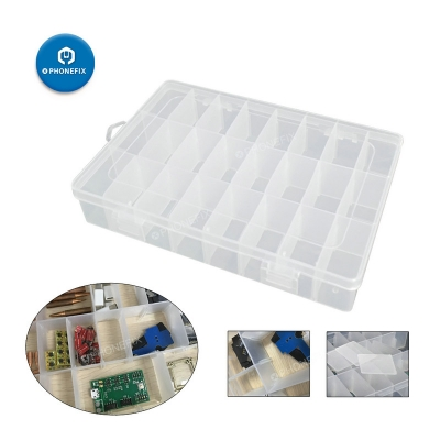 24 Compartment Storage Box Adjustable Plastic Case Component Organizer