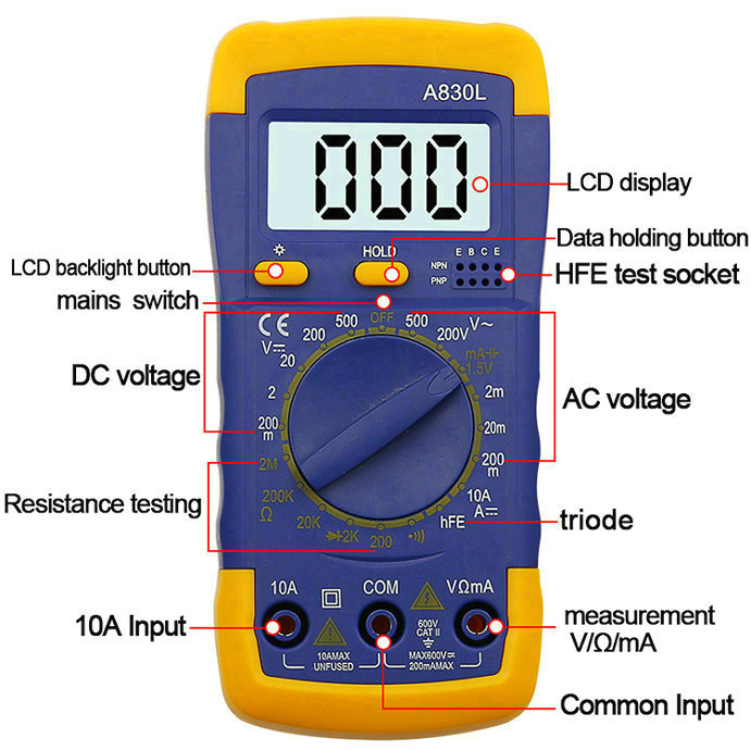 A830L Digital Multimeter AC DC OHM Volt Current Tester Mini meter Digital  Multimeter